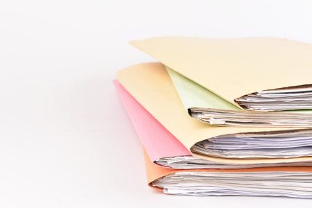 a file folder with documents and important document on isolated background