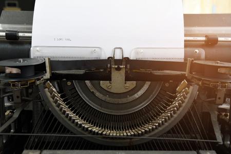 Typewriter paper vintage, i love u Reklamní fotografie