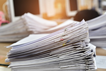 Messy documents in the office Stock Photo