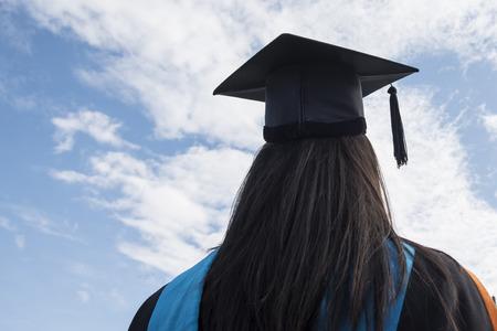Graduates cap of the University,The background is sky.