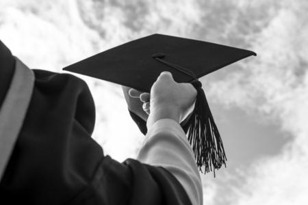 Monotone Congratulated the graduates  in University. Stock Photo