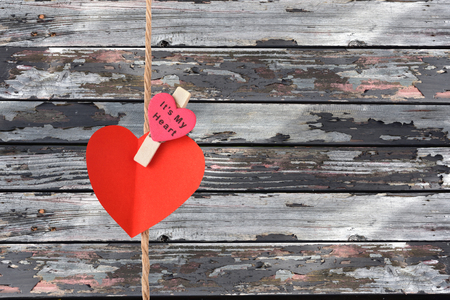pace: valentines Red heart pace on old wood background