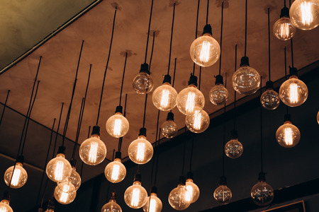 There are light bulbs Hang on the ceiling, idea, creative.