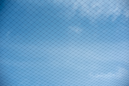 The net in the back football field is sky. Stock Photo