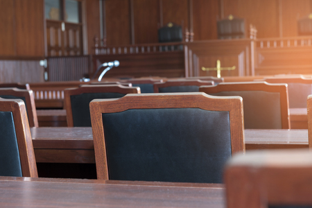Table and chair in the courtroom of the judiciary.