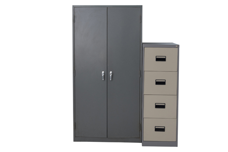 Filing Cabinet is made of steel with drawers for storage at the office.