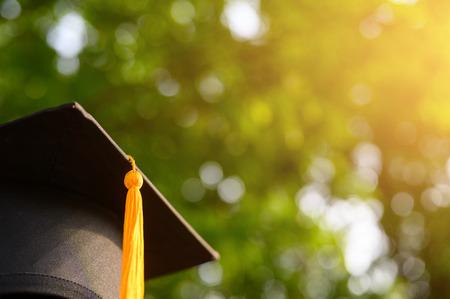 Close-up photos of black graduates hats Stock Photo
