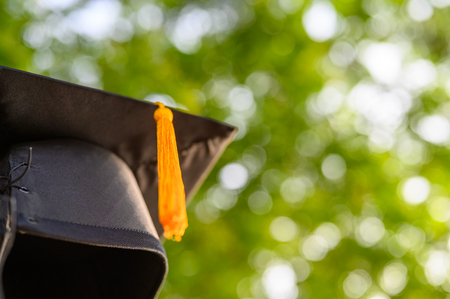 Close-up photos of black graduates hats