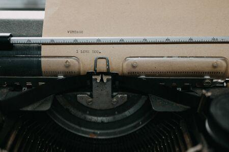 Old black typewriter Type I Love You Stockfoto