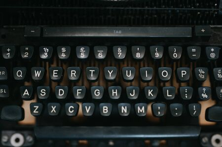 Close-up Old black typewriter Stockfoto
