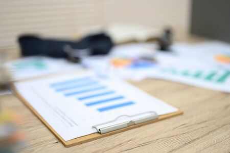 Business documents placed on the table at the office