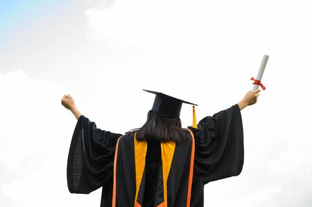 A young female student graduating from university