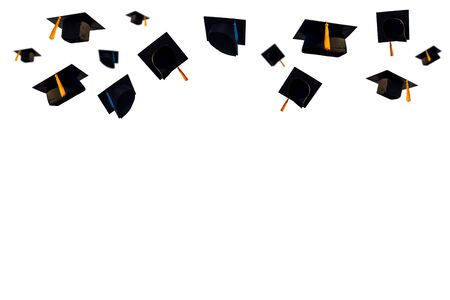 Black hats and Black tassels of university graduates on isolated white background and clipping path,Educational concept.