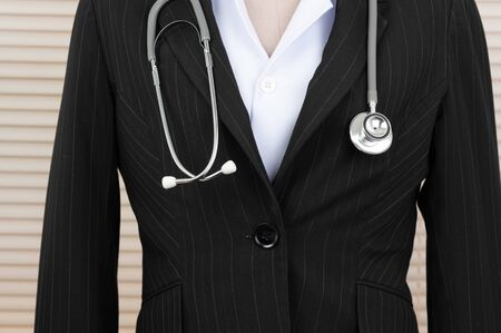 The stethoscope doctor stethoscope, the fever monitor, is in the clinical examination room. Stock Photo