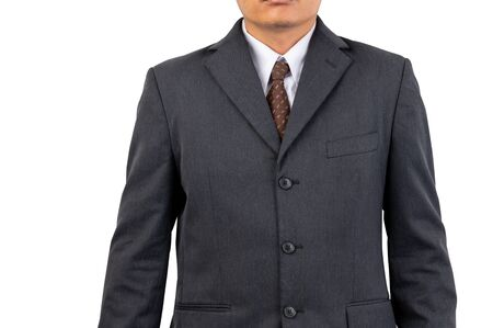 A businessman with a black suit, brown tie on isolated background and clipping path