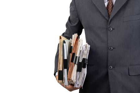 A businessman holding a file on isolated background and clipping path Stock Photo