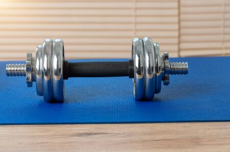 Silver iron dumbbells put on a blue mat to play fitness inside the house on a wooden floor. Archivio Fotografico