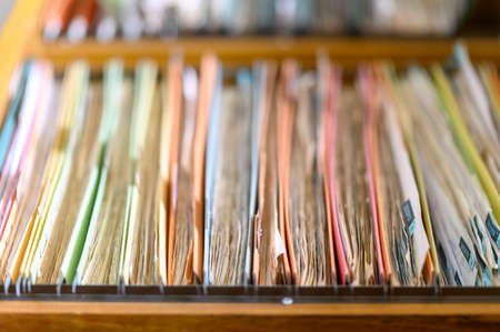 Close up of documents file in file cabinet background