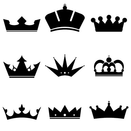 crown silhouette: Crown Icons Set