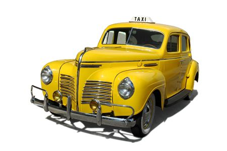 a yellow taxi: Vintage yellow taxi cab