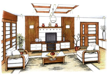 An artist's simple sketch of an interior design of a living room ...