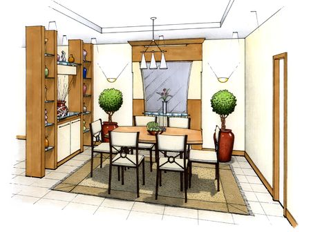 An artist's simple sketch of an interior design of a dining room (design and sketch by submitter)