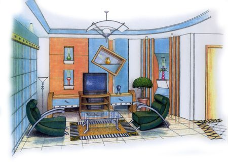 living room design: An artists simple sketch of an interior design of a living room (design & sketch by submitter)