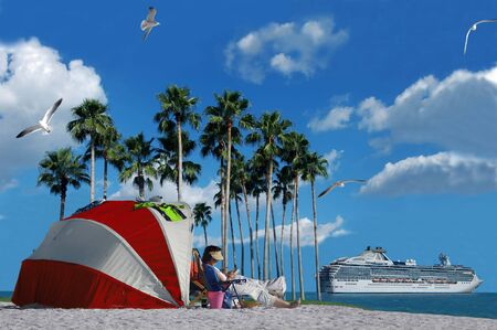 A cruise ship and a person relaxing on the beach (vacation and holiday)