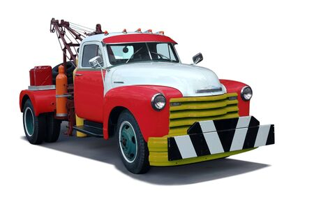 wheel truck: A classic 1960s tow truck (vintage)