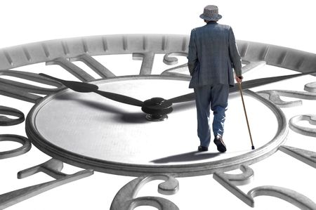 retirement age: A senior walking on an enlarged clock depicting aging, retirement and time