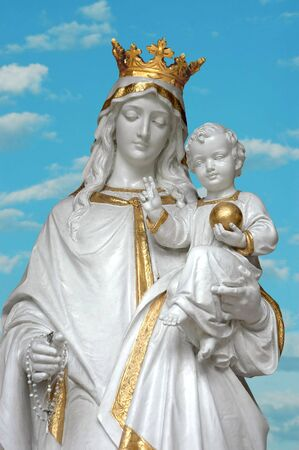 Virgin Mary (Mother Mary) with  Jesus in sky background
