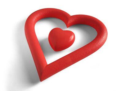 curare teneramente: Un San Valentino  's all'interno di un cuore a forma di cuore isolato in cornice sfondo bianco