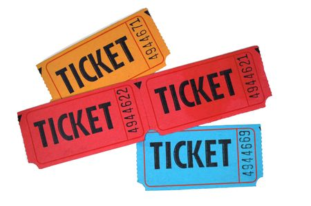 raffle ticket: Close-up of general admission tickets isolated in white background