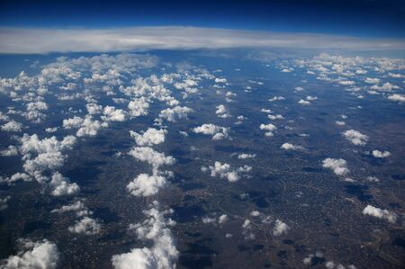 A view of the atmosphere with clouds over earth