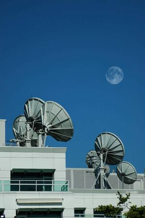 Array of radio frequency dish telescopes Stock Photo