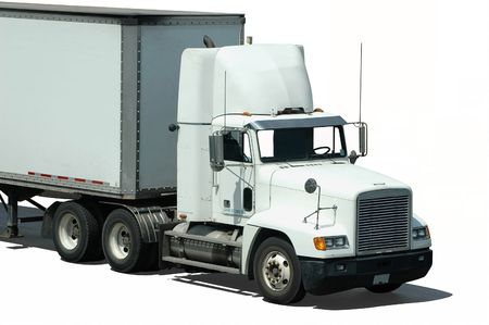 A white truck (isolated) Stock Photo