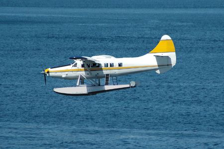 Seaplane landing Stock Photo
