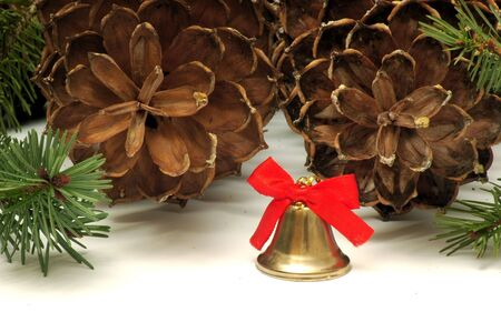 Christmas bell in pine cones background