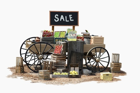 Sale of various product items on a wagon in Old Western style