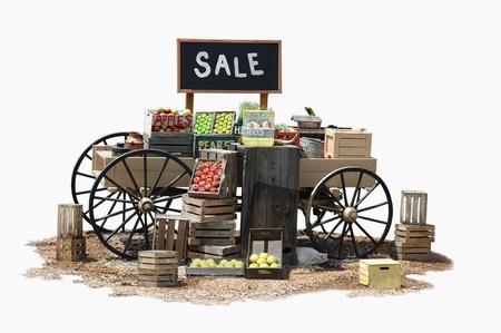 Vendita di articoli di prodotti vari su un carro in vecchio stile occidentale Archivio Fotografico