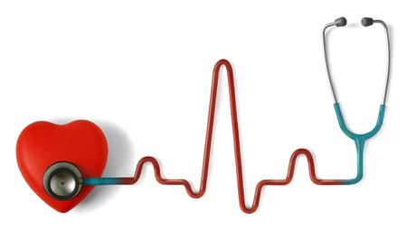 heart disease: Corazón y un estetoscopio con símbolo de latido (impulso) aislado en fondo blanco