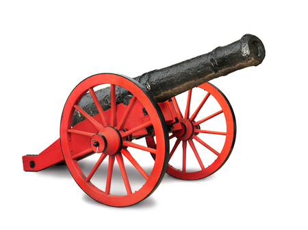 invade: A red and black cannon isolated in white background. Stock Photo