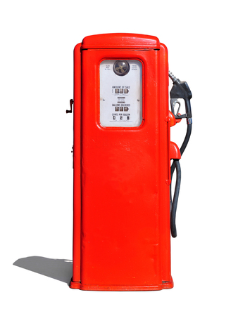 Vintage (retro) red gasoline pump isolated in white background Stock Photo