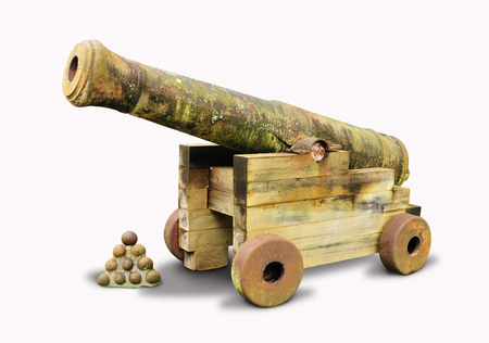 Old and vintage cannon isolated in white background Stock Photo