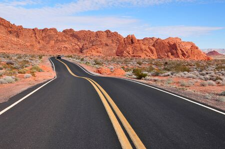 Road leading to the desert in Valley of Fire in Nevada USA Stock Photo