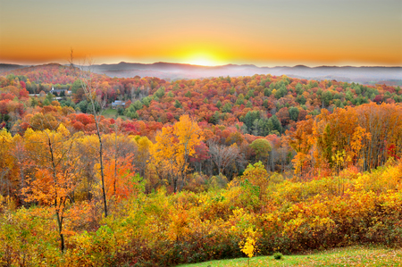 Autumn sunrise in Blue Ridge Parkway in North Carolina USA