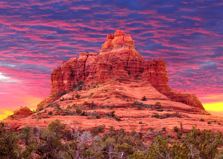 Bell Rock in Sedona, Arizona USA sunset.