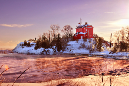 Marquette Harbor Lighthouse On Lake Superior, Michigan's Upper Peninsula