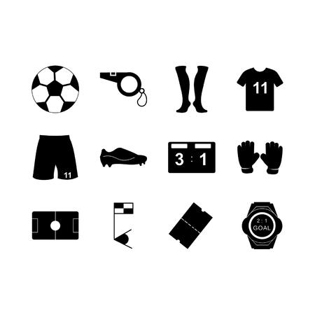 Football Icon Set Glyph Stock Illustratie