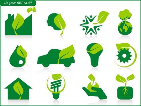 eco car: teken symbool boom energie Stock Illustratie